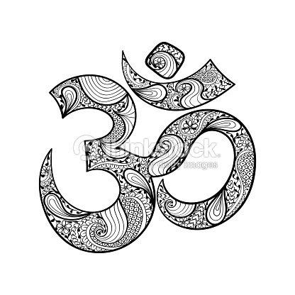 Hand Drawn Ohm Symbol Indian Diwali Spiritual Sign Om Vector Art