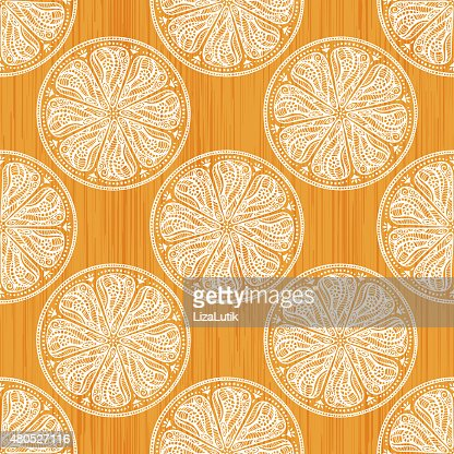 Hand Drawn Orange Seamless Pattern : Vektorgrafik
