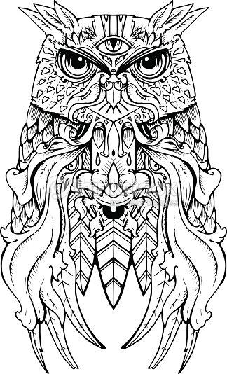 Hand Drawn Owl Tattoo Design Vector Art Thinkstock
