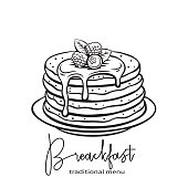 Vector hand drawn pancakes badge icon. Sketch baking with syrup and blueberries and raspberries. Breakfast concept. Retro style.