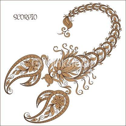 Von Hand Gezeichnete Muster Für Malbuch Zodiac Skorpion Vektorgrafik