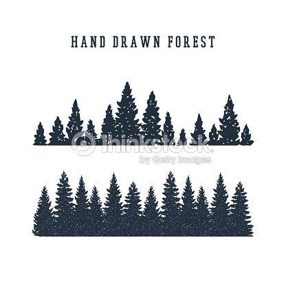 Hand drawn pine forest vector illustration. : arte vetorial