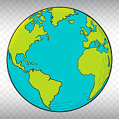 Planet Earth Vector Illustration with Transparent Background