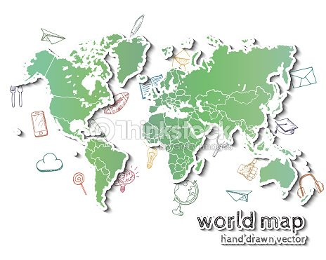 Hand Drawn Realistic World Map Vector Art | Thinkstock