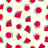 Hand drawn red watermelon slices and yellow lemons seamless pattern vector background in a colorful retro style. Great for fabric, paper, wallpaper and more.