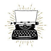 Hand drawn retro typewriter textured vector illustration.