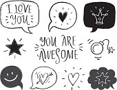 Vector illustration, set of hand drawn romantic phrases and symbols. Valentine's day design element.