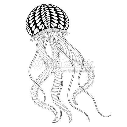 Mano Dibujado Medusas De Mar Para Colorear Páginas Adultos Arte ...