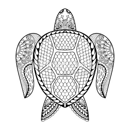 Volwassen Kleurplaat Olifant Hand Drawn Sea Turtle For Adult Coloring Pages Stock