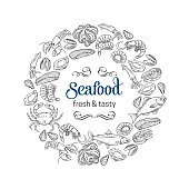 Vector round frame template hand drawn seafood design with mussel, fish salmon, shrimp. Lobster, squid, octopus, scallop or lobster, craps, mollusk, oyster, alfonsino and tuna for product market