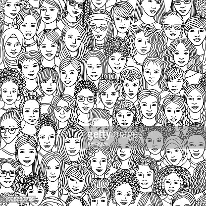 Hand drawn seamless pattern of diverse women : stock vector