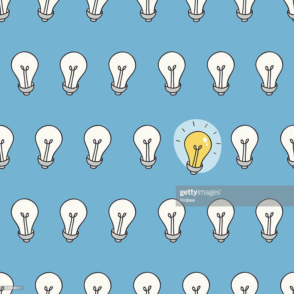 Dibujados a mano patrón sin costuras de bombillas.  Idea símbolo. : Arte vectorial