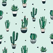 Decorative pattern with cacti and succulents