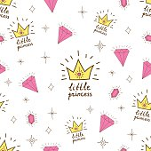 Hand drawn seamless vector pattern for little princess. Background for design, web site, textile, fabric, card and wrappinf paper. Girl print.