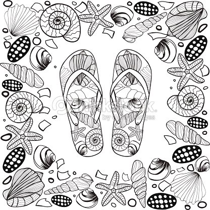 ad7485ba5 Hand Drawn Seashell Border Frame With Flip Flop stock vector ...
