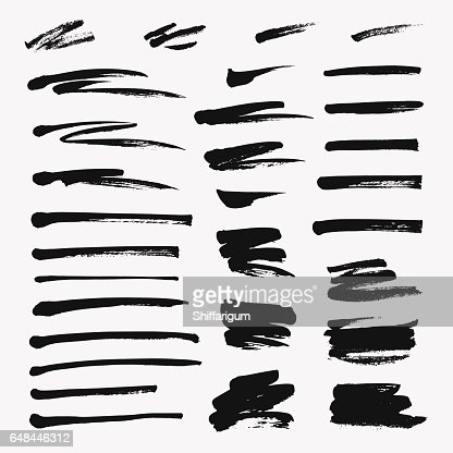 Hand drawn set of brushstroke. Vector grunge objects : stock vector