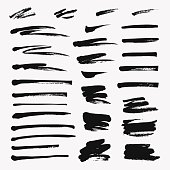 Hand drawn set of brushstroke. Vector grunge objects