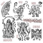 Graphic vector illustration. Engraved line art drawings of grim reaper, Kali goddess, cerberus and other monsters