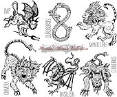 Graphic vector illustrations. Engraved line art drawing of imp, ouroboros, chimera, basilisk and others