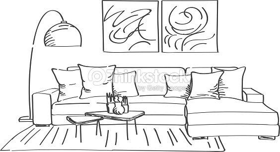 Hand drawn sketch of modern living room interior vector for Sofa zeichnen