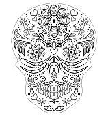 Abstract skull on white background. Coloring page for children and adult. Vector illustration.