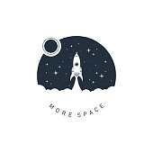 "Hand drawn space badge with rocket textured vector illustration and ""More space"" lettering."