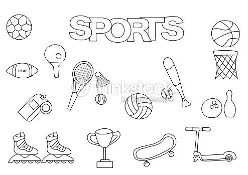 Juego De Deportes De Dibujado A Mano Plantilla De Libro Para ...