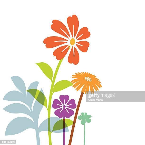 Main dessiné des fleurs de printemps-Illustration