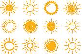 12 Hand drawn suns on white background, vector eps10 illustration