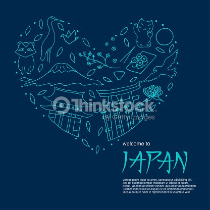 Hand drawn symbols of Japan. The main attractions of Asia.