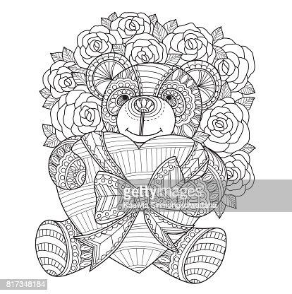 Handgezeichnete Teddybar Herz Fur Erwachsene Malvorlagen Umarmt
