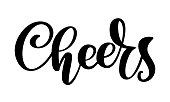 Hand drawn text Cheers lettering banner. Greeting card design template with calligraphy. Vector illustration.
