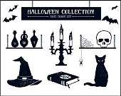 Hand drawn textured Halloween set of witch hat, vials, candlestick, skull, and cat illustrations.