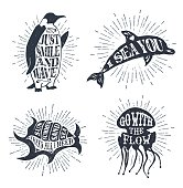 Hand drawn textured vintage labels set with penguin, dolphin, shell, jellyfish vector illustrations, and inspirational lettering.