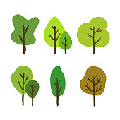 Vector hand drawn tree set isolated on a white background. Various of trees painted with a brush in colorful cartoons style