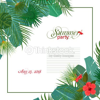 Hand drawn tropical palm leaves and jungle exotic flower wedding hand drawn tropical palm leaves and jungle exotic flower wedding invitation template on white background with stopboris Choice Image
