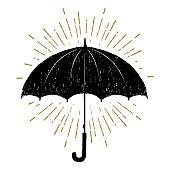 Hand drawn umbrella textured vector illustration.