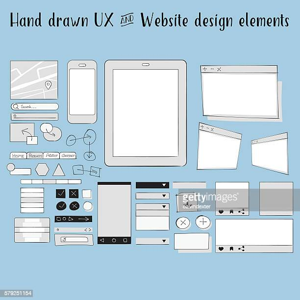 Hand drawn ux and website design elements