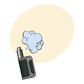 Hand drawn vape, vaping device with smoke cloud, sketch vector illustration i with space for text. Realistic hand drawing of vape, vaporizer device emitting smoke cloud