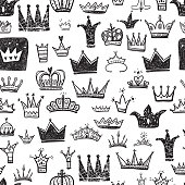 Hand drawn Various crowns set, vector illustration doodle cute style.