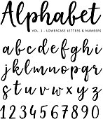 Hand drawn vector alphabet. Brush script font. Isolated lower case letters and numbers written with marker or ink, calligraphy, lettering.