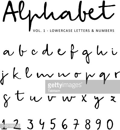 Hand drawn vector alphabet, font, isolated lower case letters and numbers written with marker or ink. Calligraphy, lettering : stock vector