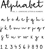 Hand drawn vector alphabet, font, isolated lower case letters and numbers written with marker or ink,alligraphy, lettering.
