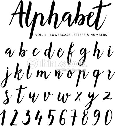 Hand Drawn Vector Alphabet Script Font Brush Isolated Letters