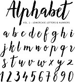 Hand drawn vector alphabet. Script font. Brush font. Isolated letters written with marker, ink. Calligraphy, lettering.