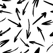 Hand drawn arrows, vector seamless pattern on a white background.