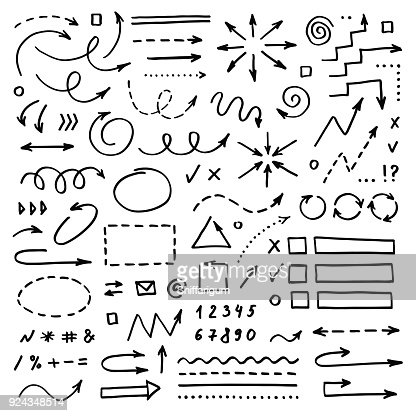 Hand drawn vector arrows set on white background. Doodle infographic design elements : Arte vettoriale
