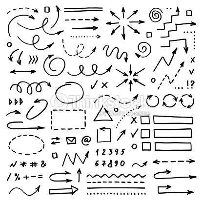 Hand drawn vector arrows set on white background. Doodle infographic design elements : arte vetorial