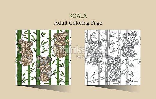 Mano Dibujado Vector Página Para Colorear Para Adultos Con Lindo ...