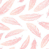 Hand drawn vector feathers line art seamless pattern on white background. Detailed pink boho decoration. Pastel ornament for wrapping paper, fabrics and textile.
